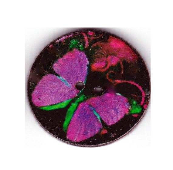 Purple button Butterfly wood handcrafted Princess heart