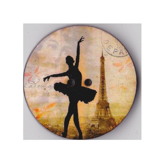 dancer tutu eiffel tower button wood handcrafted Princess heart