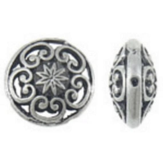 Set of 5 beads hollow metal - silver color - 17 x 17 x 7 mm