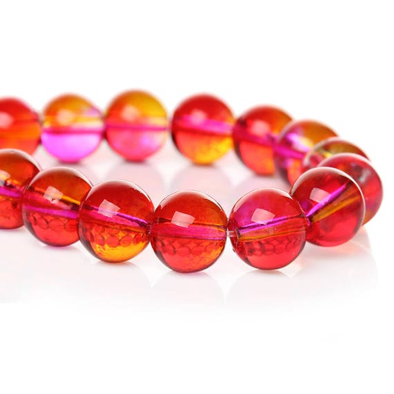 Set of 10 glass beads - pink and orange transparent - 10 mm