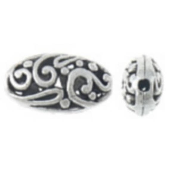 Set of 5 beads hollow metal - silver color - 18.5x10.5x7 mm