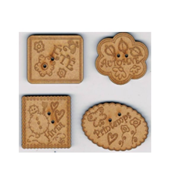 "plate pattern wooden buttons handmade ""season"""