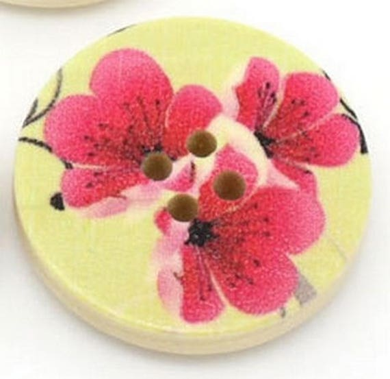 BBR30230 - 6 round buttons with colorful wooden 30 mm