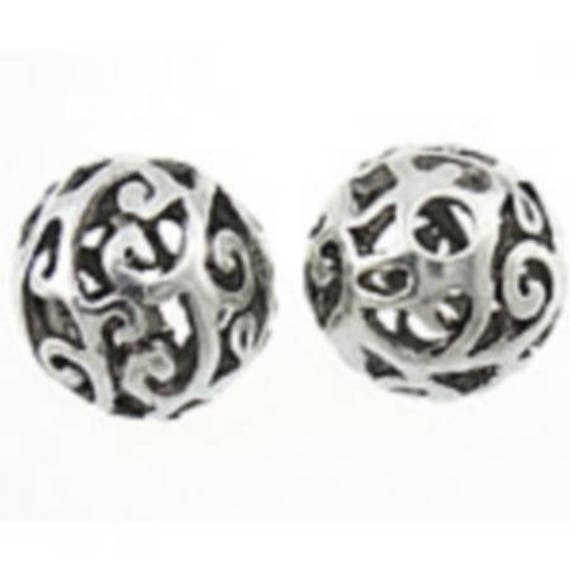Set of 5 beads hollow metal - silver - 12 mm