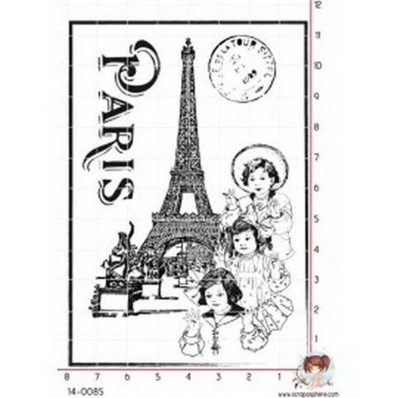 SCR122 rubber stamp to fashion eiffel tower pattern