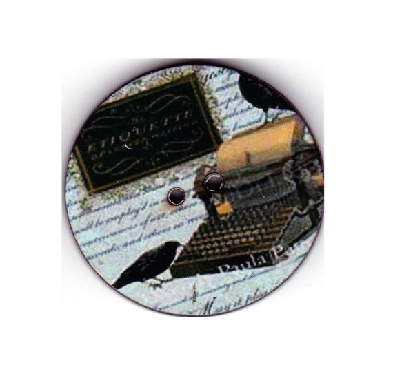 Typewriter button wood handcrafted Princess heart