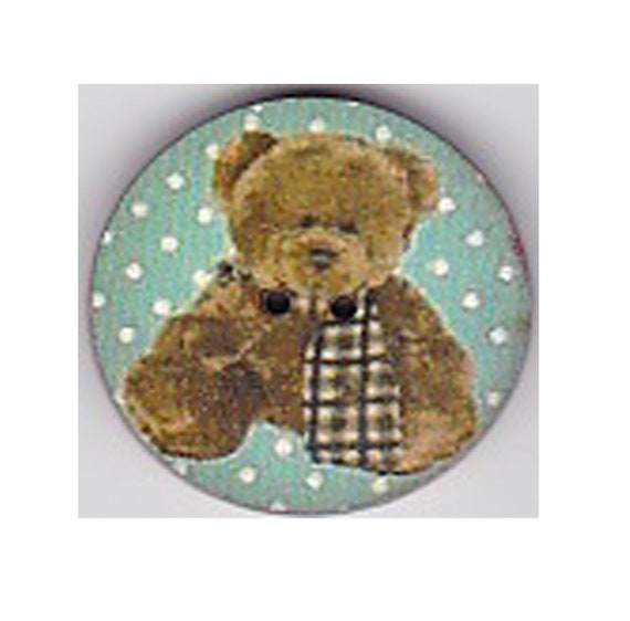 Teddy bear button wood handcrafted Princess heart