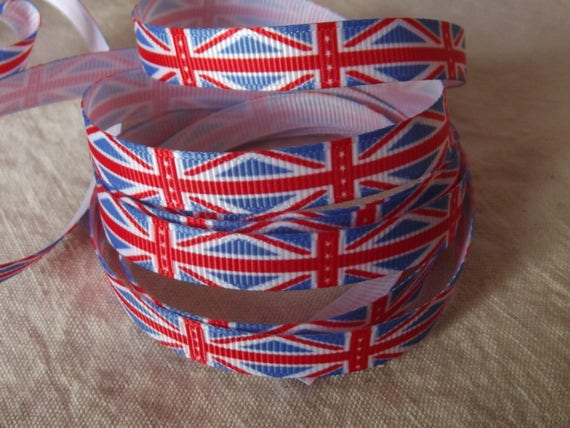R61 - English flag - 10 mm - 1 m grosgrain Ribbon