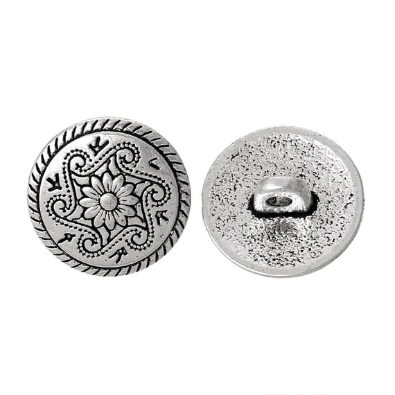 Set of 2 metal - flower pattern - 15 mm buttons
