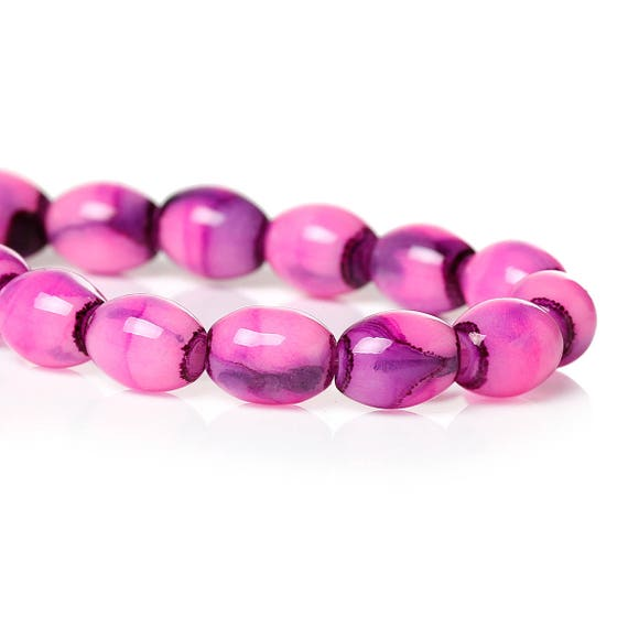 Set of 10 - oval glass beads - Pink - 8 mm
