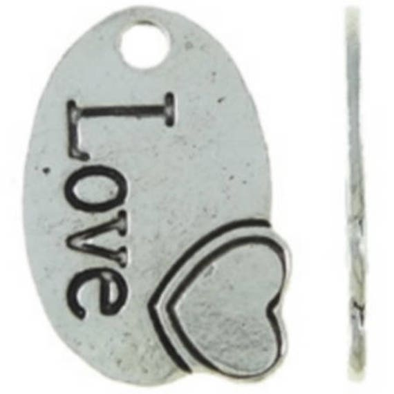 """Set of 5 charms """"Love"""" silver color size 13 x 19 mm"""