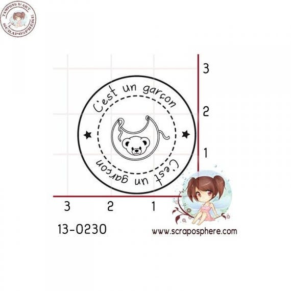 "SCR100 rubber stamp to assemble pattern ""it's a boy"""