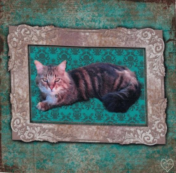 """Cat 3: Applied pattern cat """"Tigger"""" cotton twill"""