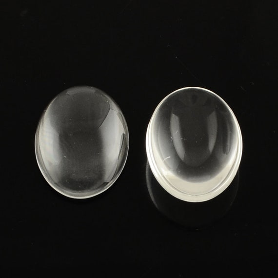 Set of 4 glasses transparent oval cabochon 35 x 25 mm