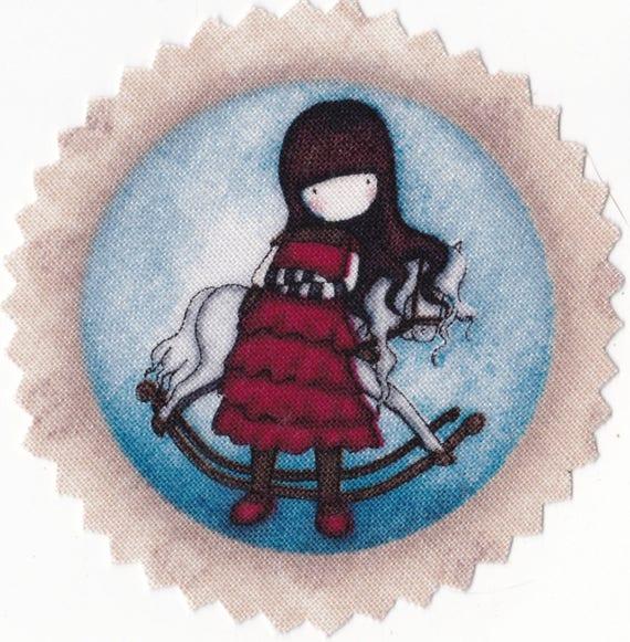 GORJUSS -1 - Applique thermocollant fillette avec cheval à bascule