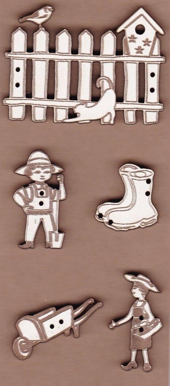 """plate pattern wooden buttons handmade """"farm"""""""