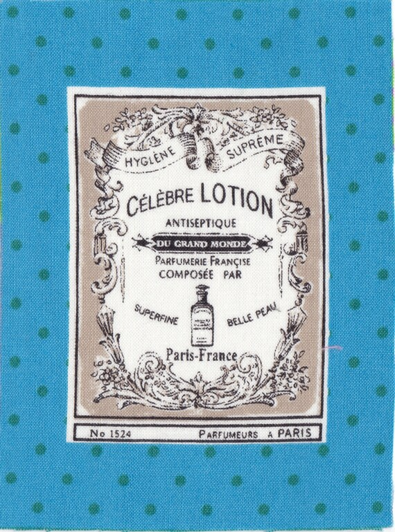 "Applied fusible cotton polka dot pattern ""famous lotion"""