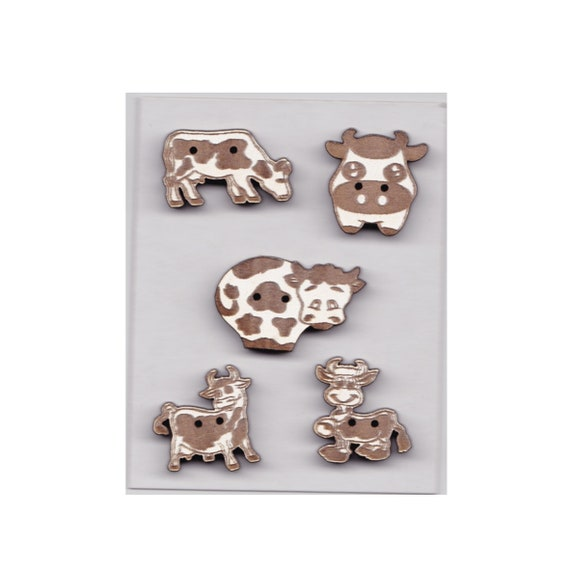 "Buttons handmade wooden ""cow"" pattern plate"