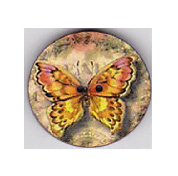 Butterfly yellow button wood handcrafted Princess heart