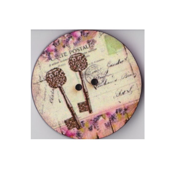 Keys-button wood handcrafted Princess heart
