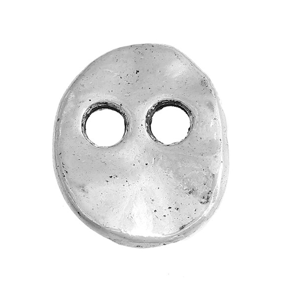 Set of 6 buttons hammered metal - oval pattern - 24 mm