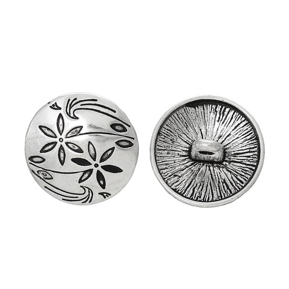 2 buttons in metal - flower pattern - 17 mm