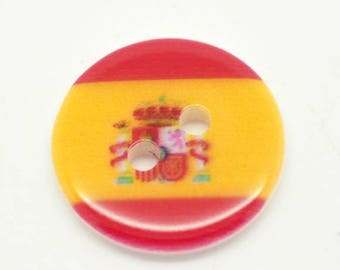 BRI18301 - 3 ROUND 18 MM RESIN SPANISH FLAG BUTTONS