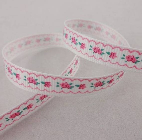 White grosgrain Ribbon frieze flower - 10 mm - 2 M