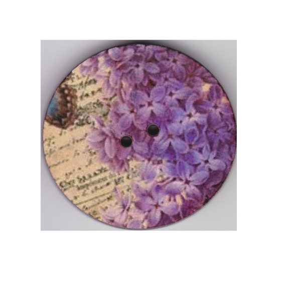 Hydrangea-button wood handcrafted Princess heart