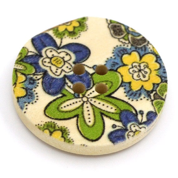 BBR30286 - 6 round buttons with colorful wooden 30 mm