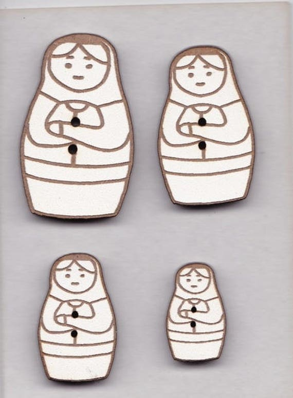"""Buttons craft Board wood motif """"Nesting Doll"""""""