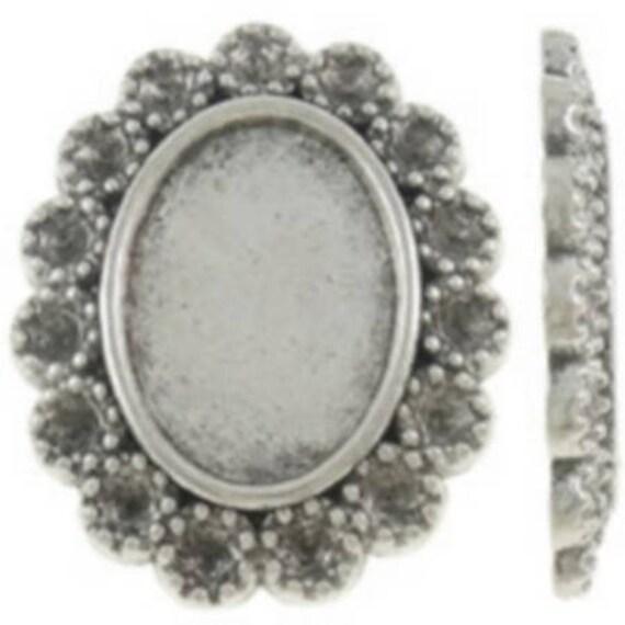 Support Cabochon retro 10 x 14 mm color silver