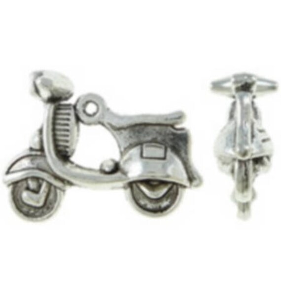 "Set of 5 charms ""Vespa"" color silver size 22 x 16, 5 mm"