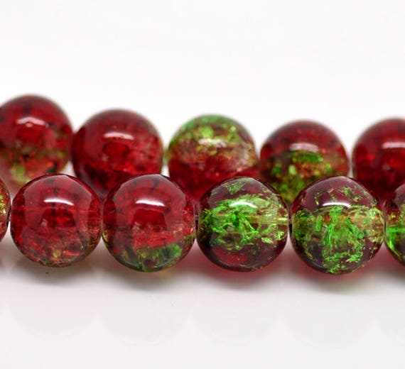Set of 10 cracked glass - red & green - 10 mm beads