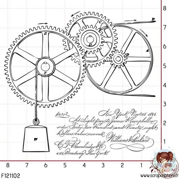 SCR73.1 rubber stamp to mount 2 gear pattern