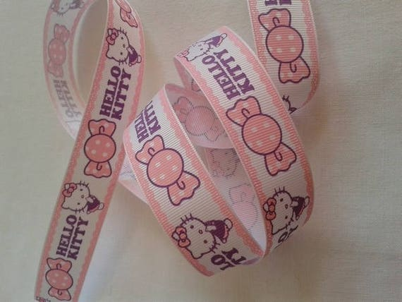 R - Ribbon grosgrain cat - 25 mm - 1 M color white and pink pattern