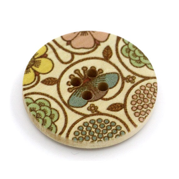 BBR30297 - 6 round buttons with colorful wooden 30 mm