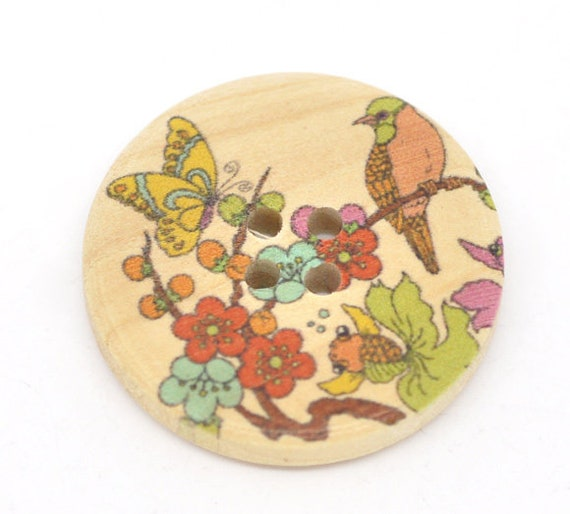 BBR30305 - 6 round buttons with colorful wooden 30 mm