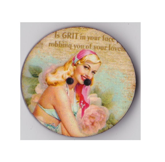 Pinup blonde button wood handcrafted Princess heart