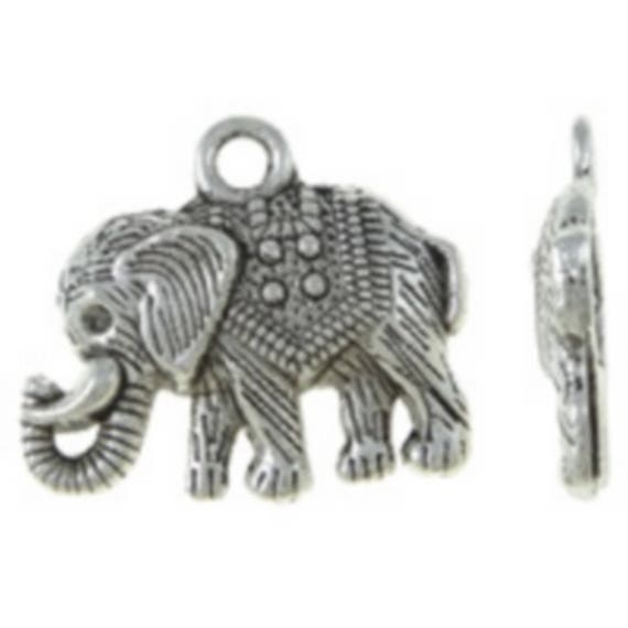 """Set of 5 charms """"Elephant"""" of color silver size 22 x 19 mm"""