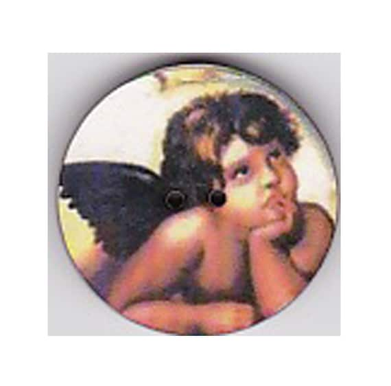 Angel button wood handcrafted Princess heart