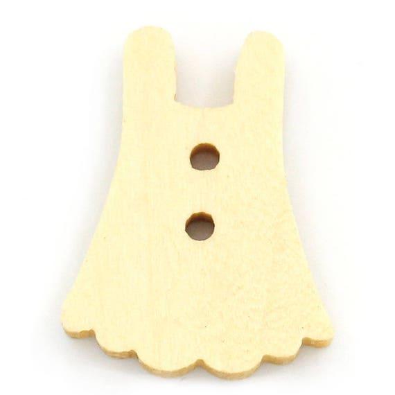 "BBN217 - 6 buttons round natural wood pattern ""dress"""