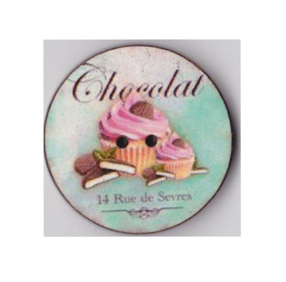 Cup cake chocolate button wood handcrafted Princess heart