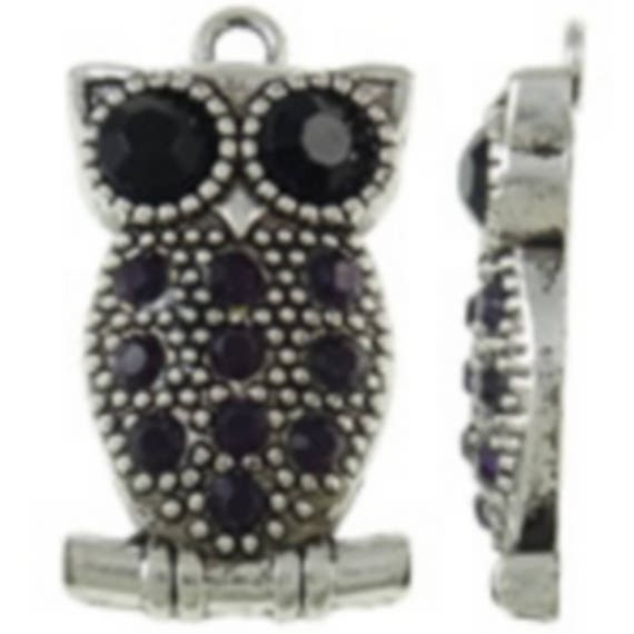 "large 1 ""OWL"" featuring a rhinestone charm size 20 x 35 mm"