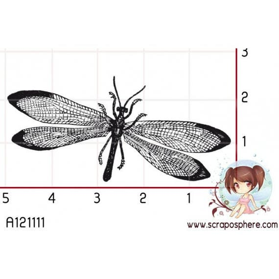 Has SCR87 scraposphere rubber stamp mount dragonfly