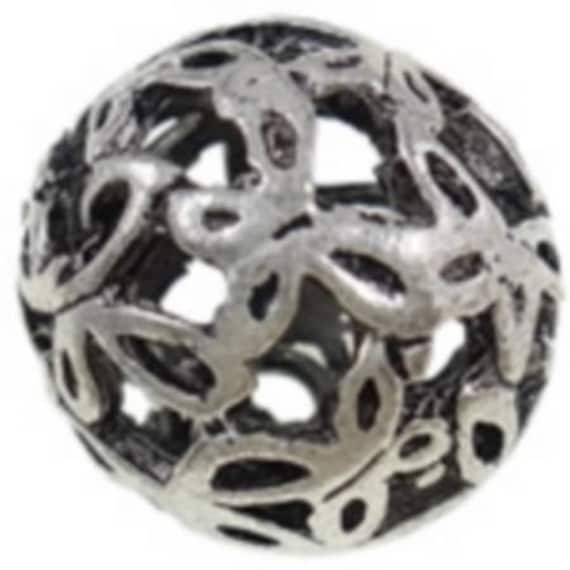 Set of 5 beads hollow metal - silver - 18 mm