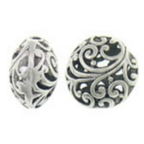 Set of 5 beads hollow metal - silver color - 17x17x11.5 mm
