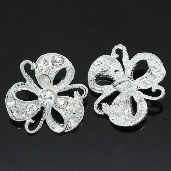 1 - flower pattern - 23 mm metal rhinestone button