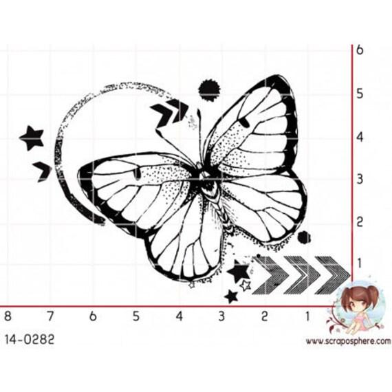 """Pattern """"Butterfly"""" rubber stamp mounted on foam"""