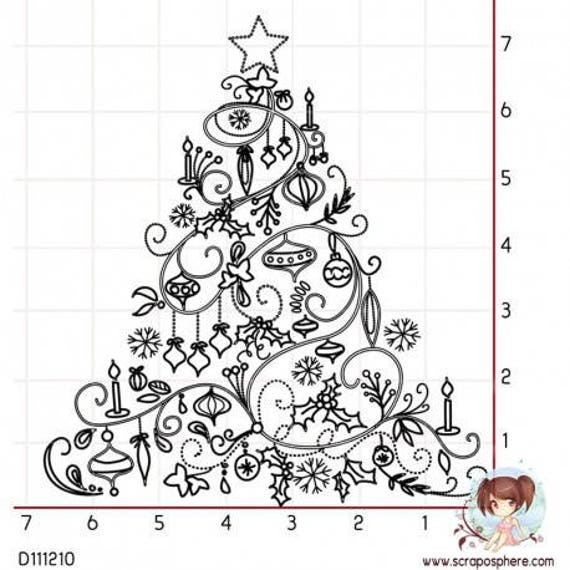 """""""Christmas tree"""" pattern rubber stamp mounted on foam"""